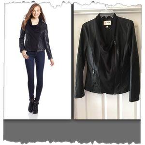 Olive & Oak Faux Leather Drape Moto Jacket